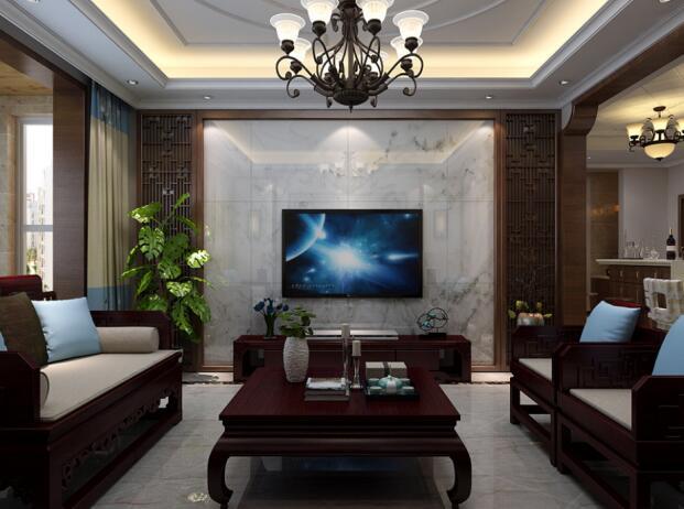 新中式大理石背景墙之古朴、典雅